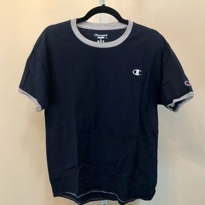Champion Navy Blue With Grey Ringer Tshirt (L)